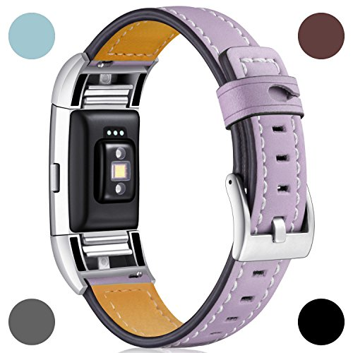 Dizywiee for fitbit charge 2 bands, Fitbit charge 2 accessory wristband with stainless steel connector, Genuine leather charge 2 replacement bands women men (Lavender Leather Band Watch)
