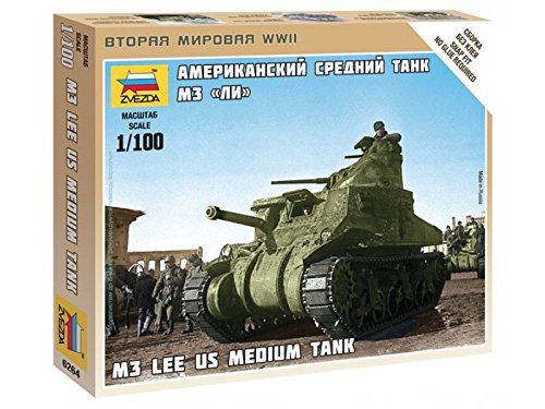Zvezda 1/100 M3 Lee Us Medium Tank # 6264 - Plastic Model Kit Hobby Company ZV6264