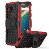 Nexus 5X Case - MoKo Heavy Duty Rugged Dual Layer Armor with Kickstand Protective Cover for Google Nexus 5X by LG 5.2 Inch 2nd Gen Smartphone, RED (Not Fit LG Nexus 5 2013 Version)