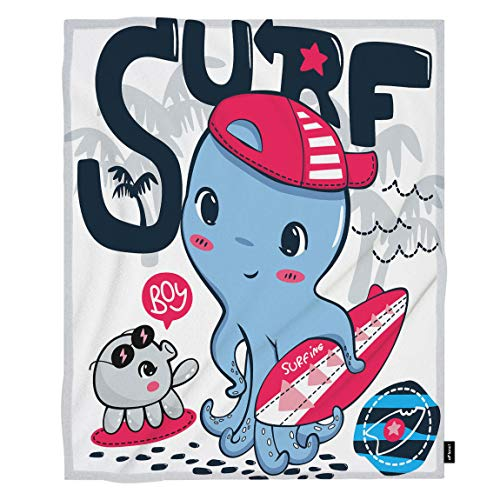 oFloral Octopus Throw Blanket Cute Surfer Octopus Boy Surfer Surfboard Decorative Soft Warm Cozy Blankets for Baby Toddler Dog Cat Home Decor for Bed Chain Sofa Couch 30x40 - Baby Surfer Surfboard