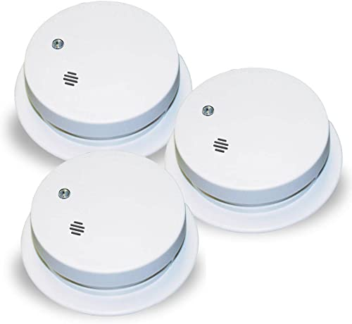 Kidde 0914 Battery-Operated Ionization Sensor Compact Smoke Alarm, 3-Pack
