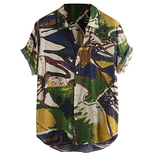 OrchidAmor 2019 Mens Summer Printed Chest Pocket Turn Down Collar Short Sleeve Loose Shirt Green ()