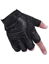 Weight Lifting Gloves, FollowYT Men's Cycling Fingerless Gloves Breathable Half Finger Non-Slip Shock-Absorbing Men Bike Riding Gloves Outdoor Sports Gloves