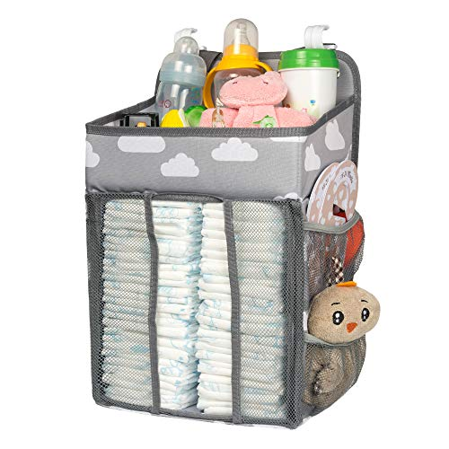 Selbor Baby Nursery Organizer and Diaper Caddy, Hanging Diaper Stacker Storage for Changing Table, Crib, Playard or Wall - Nursery Organization & Baby Shower Gifts for Newborn(Cloud)