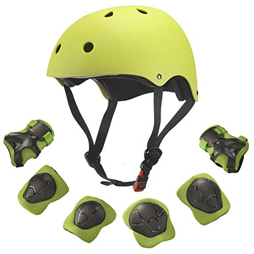 Dostar Kids Youth Adjustable 7Pcs Sports Protective Gear Set Safety Pad Safeguard (Helmet Knee Elbow Wrist) Roller Bicycle BMX Bike Skateboard Hoverboard and Other Extreme Sports Activities (Green)