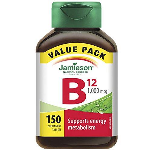 Jamieson Vitamin B12 1,000 mcg Fast Dissolving, 150 Sublingual Tablets (Value Pack)