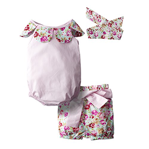 dd9240f8e82e BIG ELEPHANT Baby Girls  3 Piece Infant Romper Jumpsuit Pants Clothing Set  H86