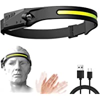 DIAND Lanterna de farol, 5 modos de luz, farol recarregável por USB, função de sensor de movimento com indução de brilho…