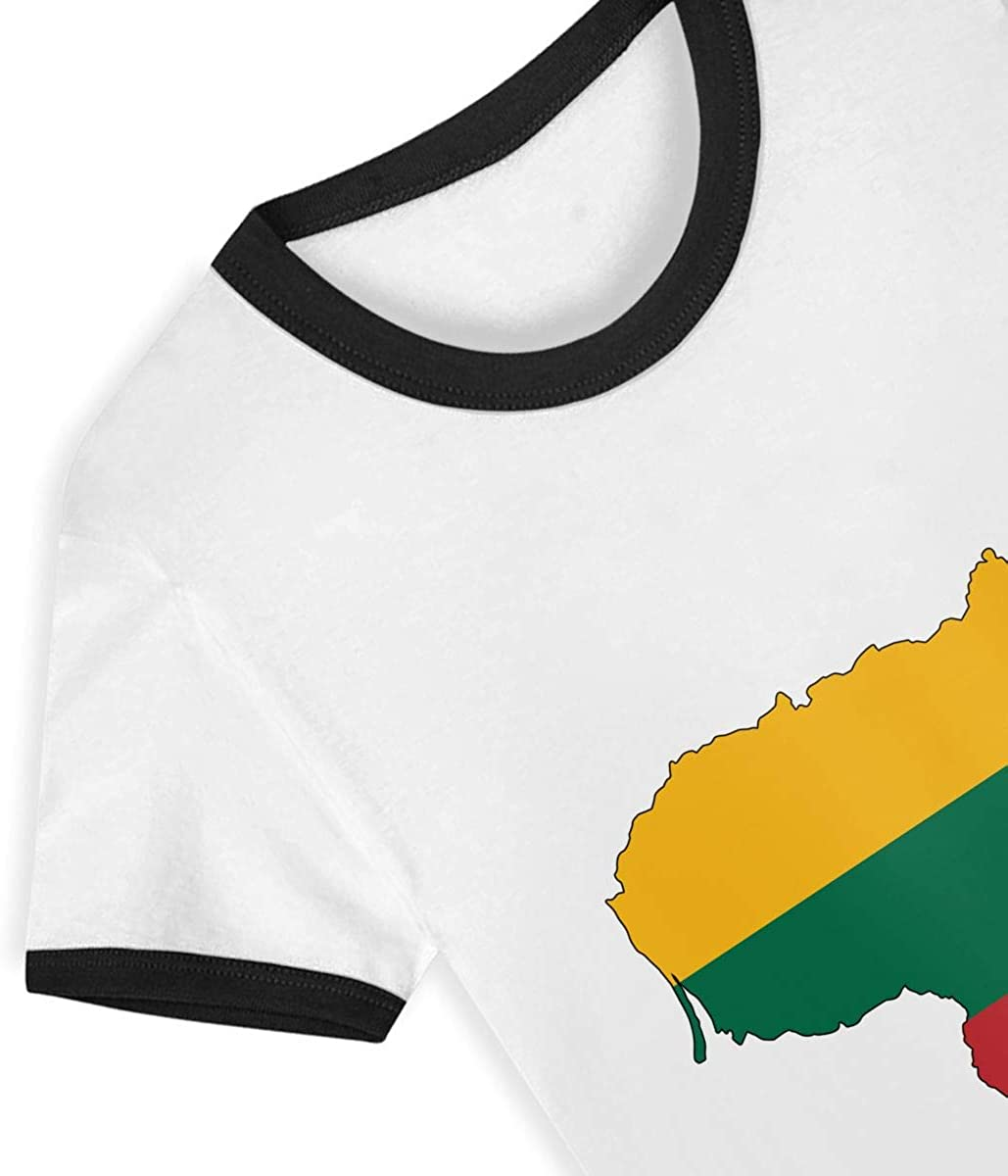 Crew Neck Cotton T-Shirt for Children T4Tenager Lithuania Toddler Boys Girls Kids Short-Sleeve Tee