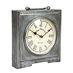 Raleigh Table Square Shape with Handle 8.5 x 9 Table Top Analog Clock