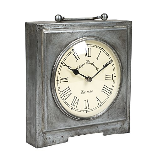 Raleigh Table Square Shape with Handle 8.5 x 9 Table Top Analog Clock by The Country House Collection