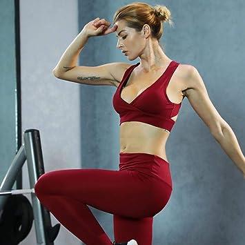 YANGCONG Ropa de Fitness de Yoga Chándal Rojo Traje Deportivo ...