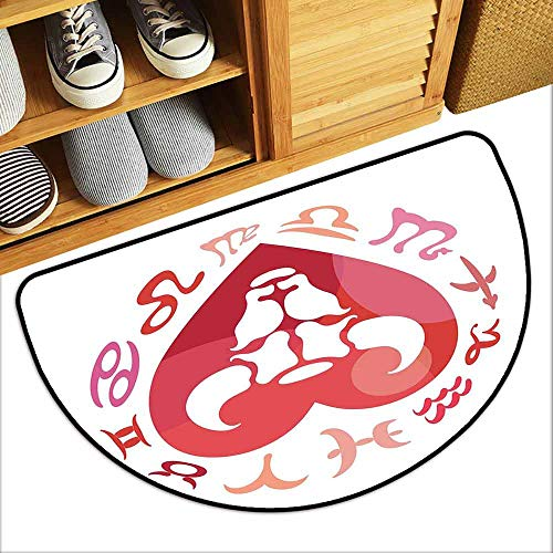 DILITECK Non-Slip Door mat Taurus Zodiac Sign Bull Personality Western Astrology Human Character Mystic Print Suitable for Outdoor and Indoor use W31 xL20 Dark Coral White