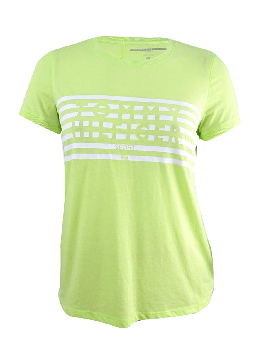 a9757198 Tommy Hilfiger Women's Sport Striped Logo Graphic T-Shirt (XL, Key Lime) at  Amazon Women's Clothing store: