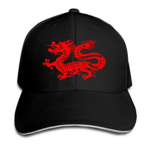 Macevoy Chinese Magic Dragon Casual Unisex Unstructured Cotton Cap Adjustable Baseball Hat Cap Black