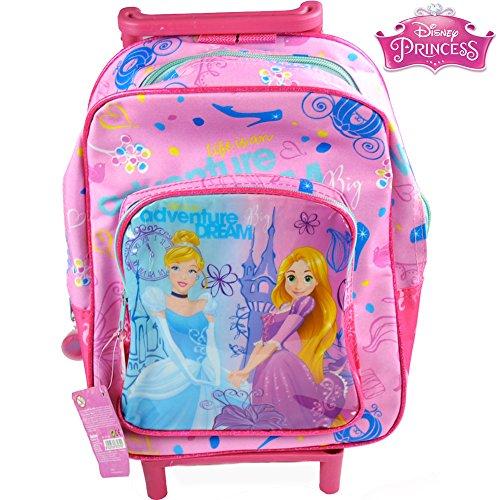 Bakaji Zaino Trolley Principesse Disney Princess Aurora Belle Asilo Scuola Bambine Viaggi Alto 30 cm