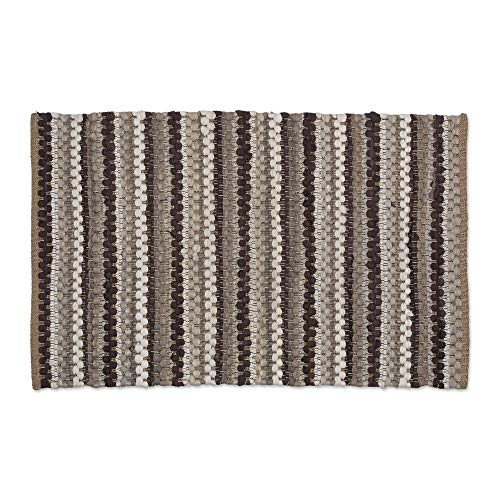 J&M Home Fashions Cotton Contemporary Reversible Indoor Stripe Chindi Woven Area Rag Rug, 24x36