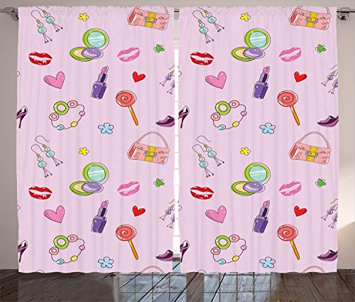 """Ambesonne Princess Curtains, Girls Illustration with Fashion Accessories and Makeup Lollipop Flower Print, Living Room Bedroom Window Drapes 2 Panel Set, 108"""" X 84"""", Pink Purple"""