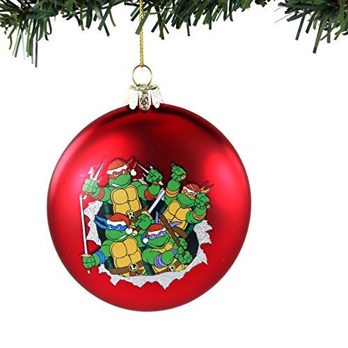 TMNT Ninja Turtles Kurt Adler Glass Ornament Gift Boxed (Red Silent Night Ninja Fight)