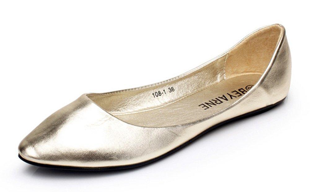 Aisun Damen Typisch Spitz Flach Asakuchi Geschlossen Ballerinas Grau 38 EU HHpgXVX