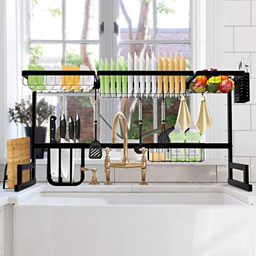 SOLEDI Over Sink Dish Rack Stainless Steel Dish Drying Rack Sturdy and Durable 72 Hours Anti Rust Test Maximize Kitchen Space Easy to Assemble (For Sink Length  36.66 inch)