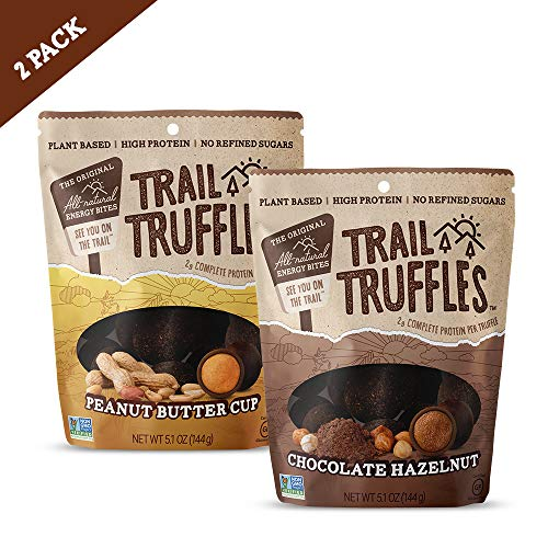 Trail Truffles - Plant Based, Paleo Friendly Superfood Protein Balls - Healthy, Gluten Free, Dairy Free, Soy Free, Non-GMO Snacks for Camping and Hiking - 2 pack (Peanut Butter & Chocolate Hazelnut)