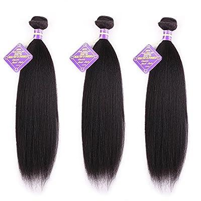 Favor Beauty Store Brazilian Virgin Hair 3 Bundles Yaki Human Hair Extensions Natural Black Color 100% Unprocessed Yaki Hair Weave