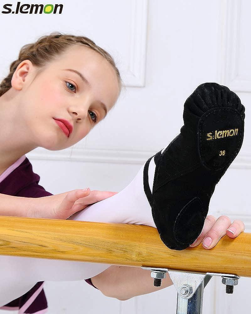s.lemon Stretch Canvas Dance Ballet Shoes Slippers Flats Pumps for Girls Toddlers Kids Lemon Sports