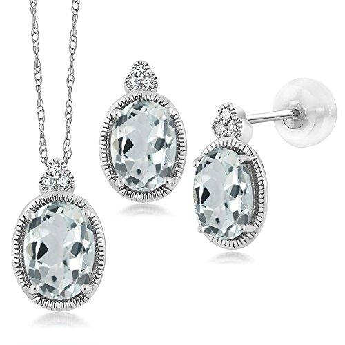 1.64 Ct Oval Sky Blue Aquamarine and Diamond 10K White Gold Pendant Earrings Set by Gem Stone King (Image #3)