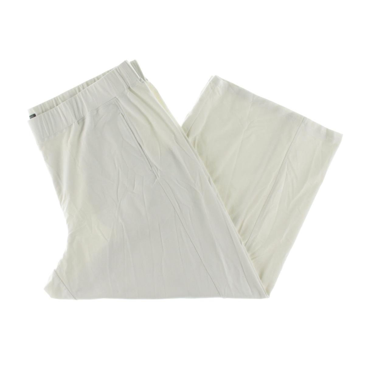 Eileen Fisher Womens Plus Solid Flat Front Ankle Pants White 3X