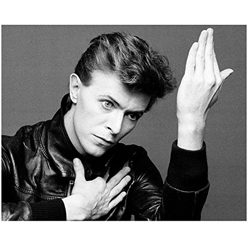 David Bowie Dressed in Leather Jacket Looking Sideways with Arm Extended Black and White 8 x 10 Inch -