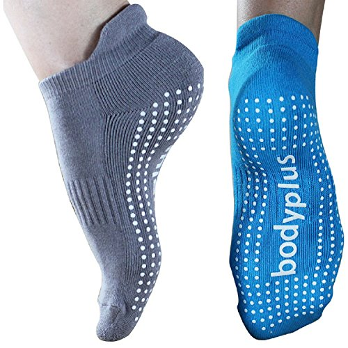 Pilates Yoga Grip Socks for Women - 2 Pairs Non Slip Barre Exercise - (Blue & Grey) Fit 7-9 Shoe Size