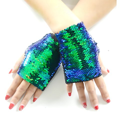 Black Mermaid Costumes For Women (JACHAM Sequin Gloves,Reversible Mermaid Fingerless Gloves Dance Party Favor Bracelet Kids)