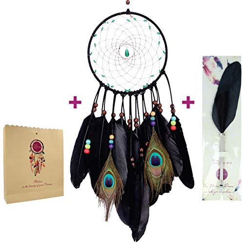 (Dream Catchers + Feather PEN + GIFT Bag - Most Popular Native American Dream Catcher for Bedroom - Wall Hanging Decoration, Peacock Feather Art Decor, Talisman Stone and Beads with Handmade Web Net)