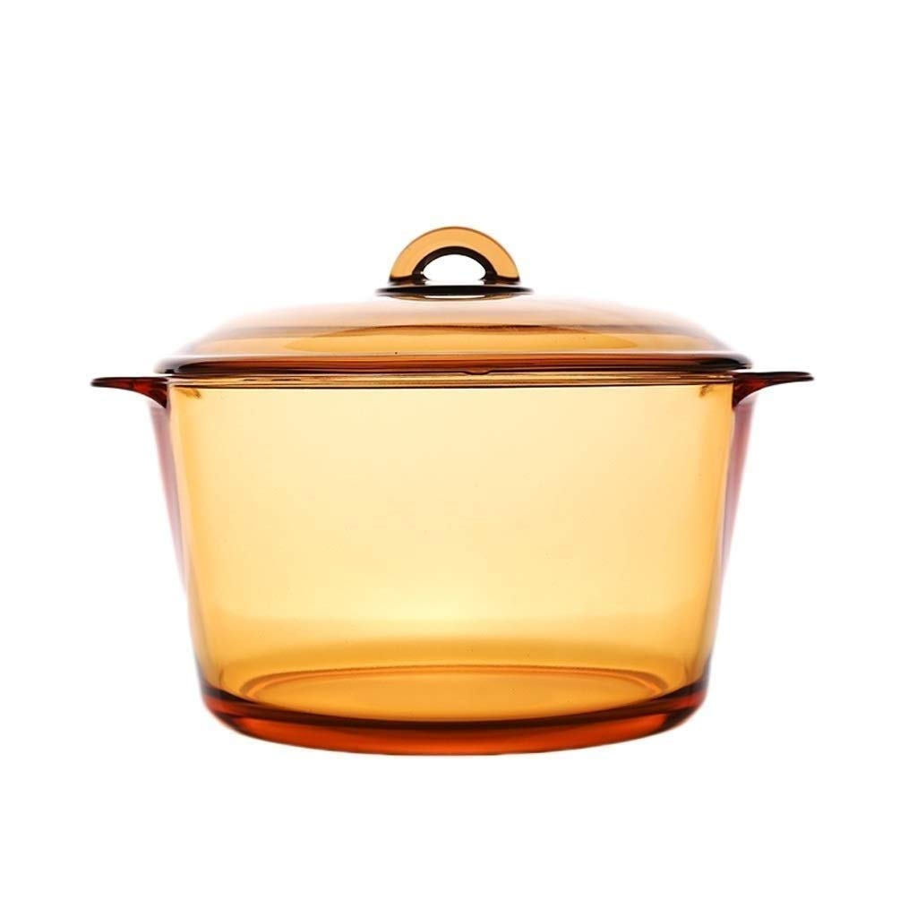 SHICCF Soup Pot Stew Pot Binaural Transparent Crystal Glass Amber Pot Simmered Fire Burning Pot With Mother's And Father's Day Gift (Size:1L,1.5L,2L,3L,5L) (Size : 2L) by SHICCF