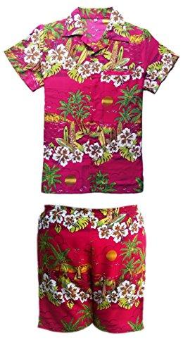 Homme Pour Et Saitark Hawaïen Cerf Court Plage Hawaï De Party Multicolore Palm Aloha Magenta Été Vacances Fancy H5xwPnqwFg