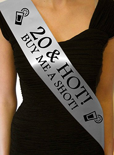 '20 & Hot - Buy me a Shot!' Party Sash 20th Birthday Night Going Out Sashes Accessory Gift Badge Novelty - Silver Fancy Pants Store Ltd