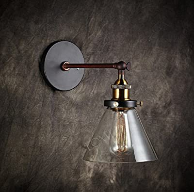 2015 NEW Modern Vintage Industrial Metal Glass Rustic Bronze Sconce Wall Lamp Loft Wall Light