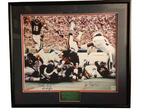 - Chicago Bears Walter Payton and William Perry DUAL Autographed/Signed Special Inscription Photo with Soldier Field Turf Piece