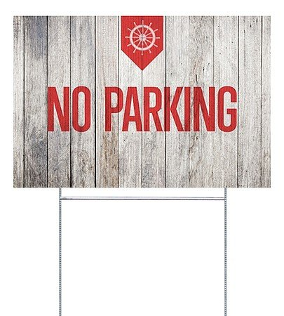 Parking Sign Stands - CGSignLab |No Parking -Nautical Wood Double-sided Corrugated Plastic Yard Sign with Wire H-Stake Stand | 18