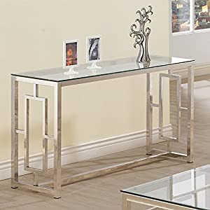 Amazon Com Console Table For Entryway Glass Top Modern