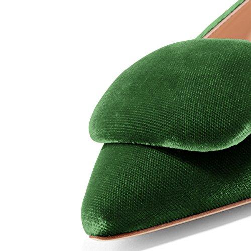Fsj Vrouwen Comfortabele Lage Hakken Flats Spitse Neus Pompen Gesp Slip Op Kantoor Kleding Schoenen Maat 4-15 Us Green