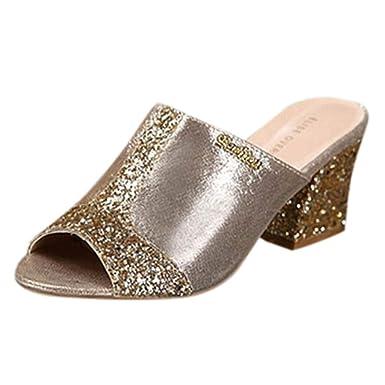 26cf10042936ed Amazon.com  Lovewe Women s Fashion Slip On High Heel Peep Toe Crystal  Slipper Casual Sandals Shoes for Women Black  Clothing