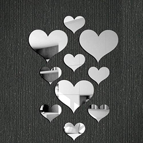 Removable Wall Sticker Clearance Sale, Libermall 10pcs Acrylic Love Heart 5D Mirror Wall Sticker Home Room Decor Wall Windows Door Mural Decal Sticker, Best for Family Room Art Decor Wall Stickers - Bedroom Paint