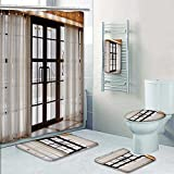 PRUNUSHOME 5-piece Bathroom Set-Includes Shower Curtain Liner,that s the first snow outside the window Print Bathroom Rugs Shower Curtain/Bath Towls Sets(Small)