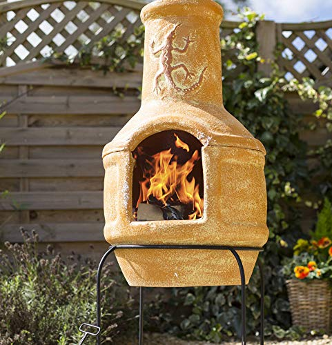La Hacienda Clay Lizard 106cm Pizza Chiminea Chimenea with BBQ Grill Patio Heater Wood Burner