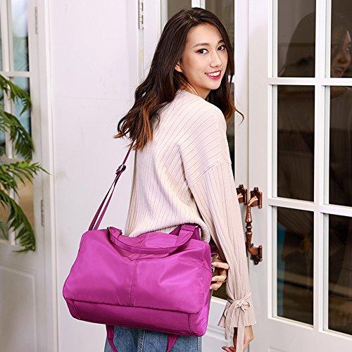 Big function And Shoulder Multi Hobo Nylon Handbag Travel Bag Organzier Capacity Purse Women Waterproof Tote Purple 84qEwPA