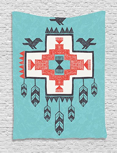 (Ambesonne Tribal Tapestry, Hand Drawn Dreamcathcher Folkloric Birds Image, Wall Hanging for Bedroom Living Room Dorm Decor, 40