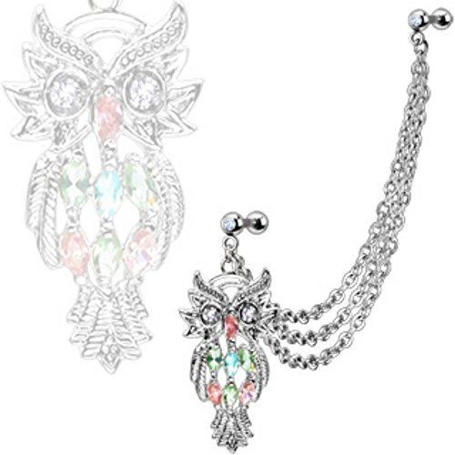 Marquise Gemmed Owl with Gemmed Double Cartilage/Tragus WildKlass Barbell Multi Chain Linked Dangle 316L Surgical Steel (Sold by Piece)