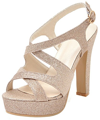 Sequin Peep Toe Platform - Mofri Women's Sequins Sling Back Sandals - Buckle Cross Strap Open Toe Wedding Shoes - Platform Chunky High Heels Gladiators (Gold, 8 B(M) US)